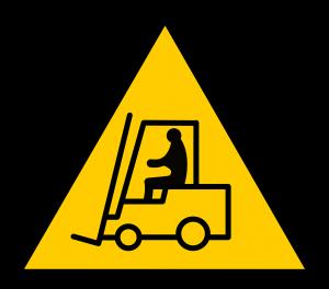 sign showing a forklift