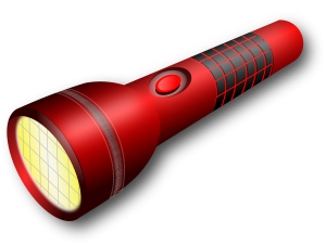a red flashlight