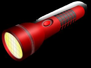 a red flashlight