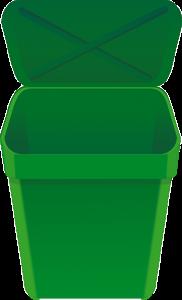 a green plastic bin