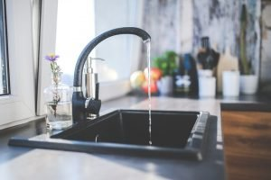 A black faucet.