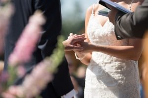 A picture of a bride putting on a wedding ring on groom's finger