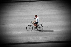 A man on bicycle