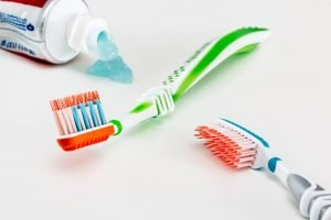 tooth brush and tooth paste