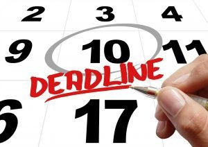 Calendar that says deadline which can mean a lot when Speeding up your NJ relocation