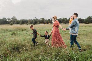 family enjoying nature