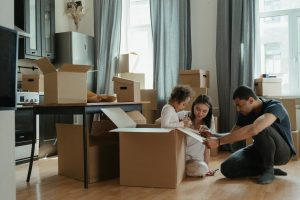 a biracial family preparing for a family move within Hudson County