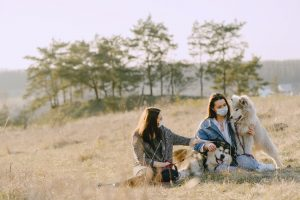 two women sitting in a grassy field with two of their dogs