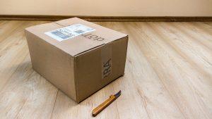 cardboard box on the floor